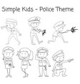 doodle simple police character vector image