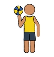 drawing player volleyball yellow tshirt vector image