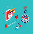 flat 3d isometric design mobile payment online vector image