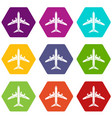 flying plane icons set 9 vector image vector image