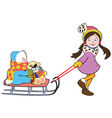 girl with sled vector image