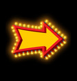 glowing arrow with lamps luminous pointer retro vector image vector image
