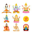 god of hinduism and priest set vector image
