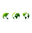 green geometric globes set world planet earth vector image