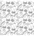 hand drawn pop art monochrome fast food pattern vector image vector image
