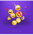 happy emojis falling down concept smiling and vector image