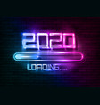 happy new year 2020 with loading icon neon sign vector image