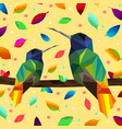low poly colorful hummingbird with falling leaves vector image vector image