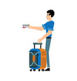 male tourist in casual clothes with carry-on vector image vector image