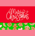 merry christmas greeting with gingerbread vector image vector image