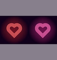neon heart in red and pink color vector image vector image