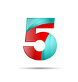 Number five 5 colorful 3d volume icon design for vector image vector image