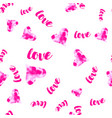 Pink watercolour hearts with love seamless