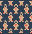 pug in gingerbread man costume seamless pattern vector image vector image