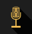 Retro vintage microphone radio flat design vector image vector image