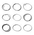 Set hand drawn ovals felt-tip pen circles vector image vector image