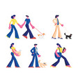 set people spend time with pets male and vector image vector image