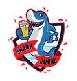 shark drinks beer gaming logo mascot vector image vector image