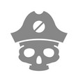 skull with pirate captain hat grey icon tattoo vector image