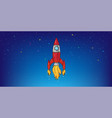space background with red rocket linear vector image