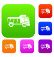 toy truck set color collection vector image vector image