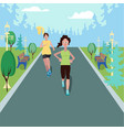 women running in the park with the forest as a vector image vector image