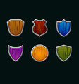 wooden shields in different shape vector image vector image
