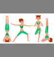 yoga woman poses set female yoga figures vector image