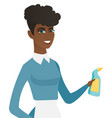 young african cleaner in uniform holding detergent vector image vector image