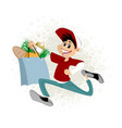 young man delivering food vector image vector image