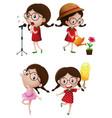 girl doing different activities vector image