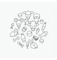 Line farm icons vector image