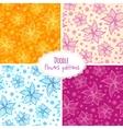 Hand drawn flower seamless patterns set vector image