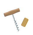 wine corkscrew and cork vector image