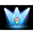A happy monkey at the center of the stage vector | Price: 1 Credit (USD $1)