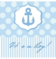Baby boy shower card with cute anchor on seamless vector image