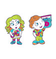 beatiful girl and boy with fashion patches in vector image vector image