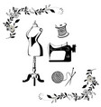 black and white tailor sewing logo set vector image vector image
