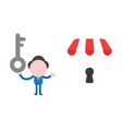 businessman character holding key and showing vector image vector image