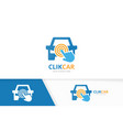 car and click logo combination vehicle and vector image vector image