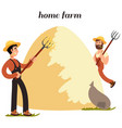 cartoon character farmers and hay isolated on vector image vector image