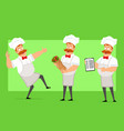 cartoon flat fat chef cook man character vector image vector image