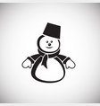 christmas snowman on white background vector image vector image