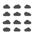cloud filled icon set vector image vector image