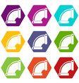 connection pipes icon set color hexahedron vector image vector image