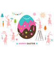 easter scene funny bunnies painting a big egg vector image vector image