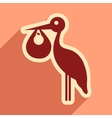 flat icon with long shadow Stork and newborn baby vector image vector image