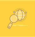 global globe magnifier research world flat line vector image