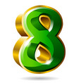 gold and green number 8 isolated on white vector image vector image