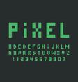 green pixel font alphabet vector image
